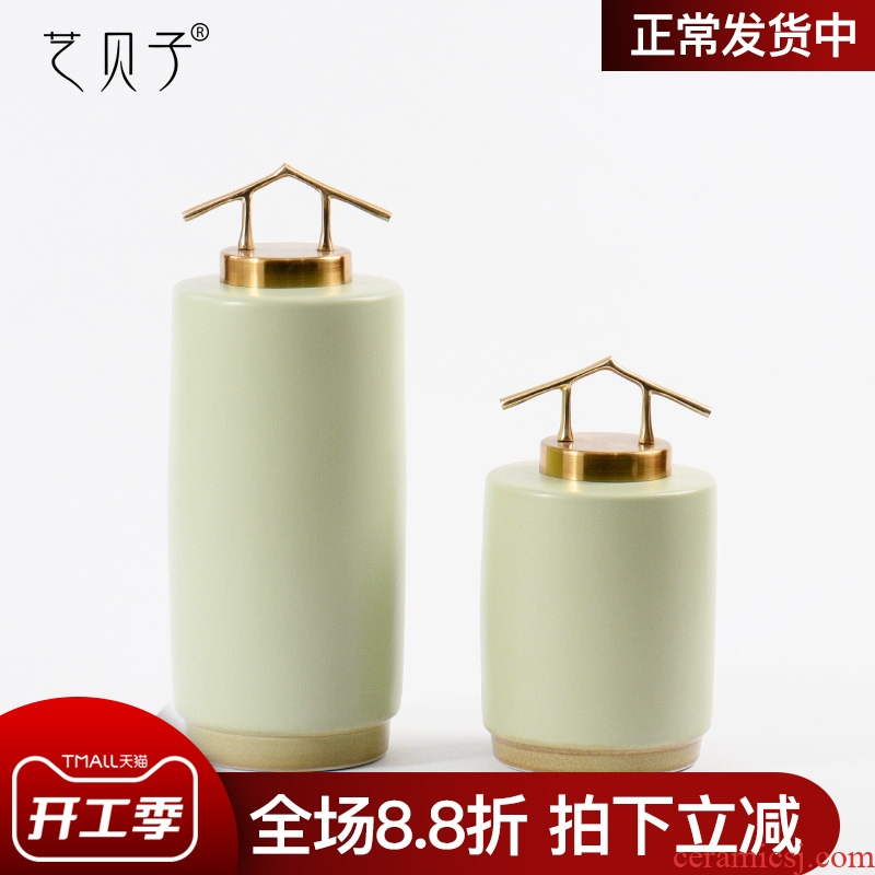 Modern new Chinese ceramic art BeiZi tank furnishing articles soft outfit decoration example room club hotel living room decoration