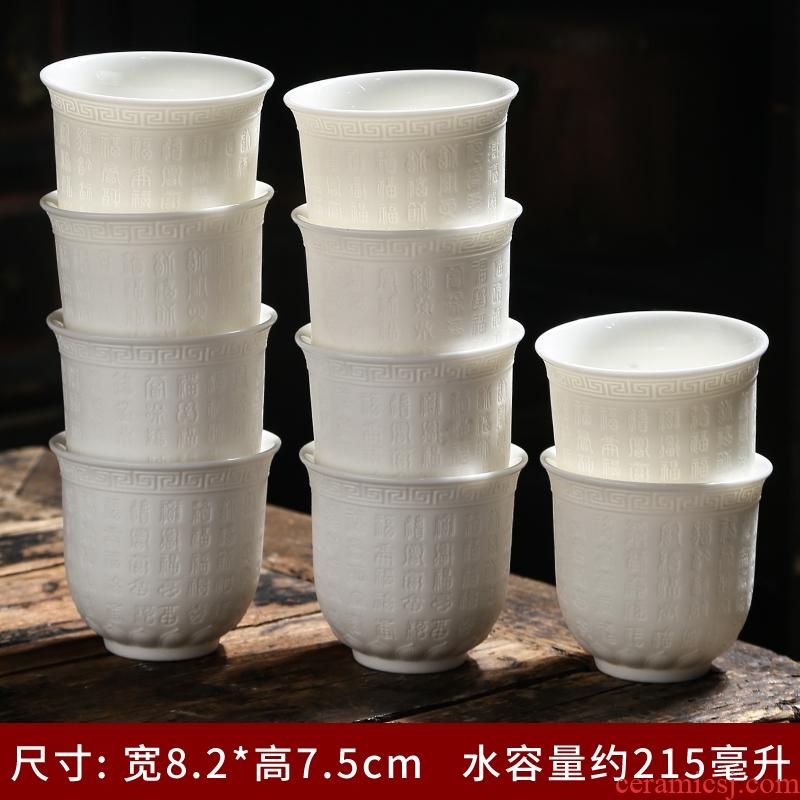 Suet jade ceramic tea cup white porcelain teacup high - capacity master cup of large sample tea cup dragon wind tea cups of heart sutra