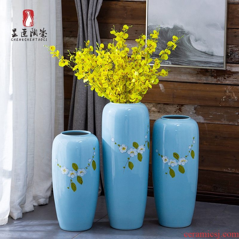 Jingdezhen ceramic furnishing articles new Chinese I and contracted sitting room of large vase flower arranging a three - piece porch vase