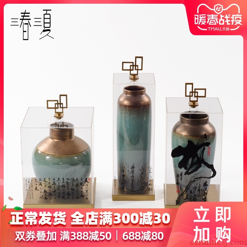 New Chinese style home furnishing articles bookshelf geometric acrylic display cover antique ceramic decoration porch soft decoration