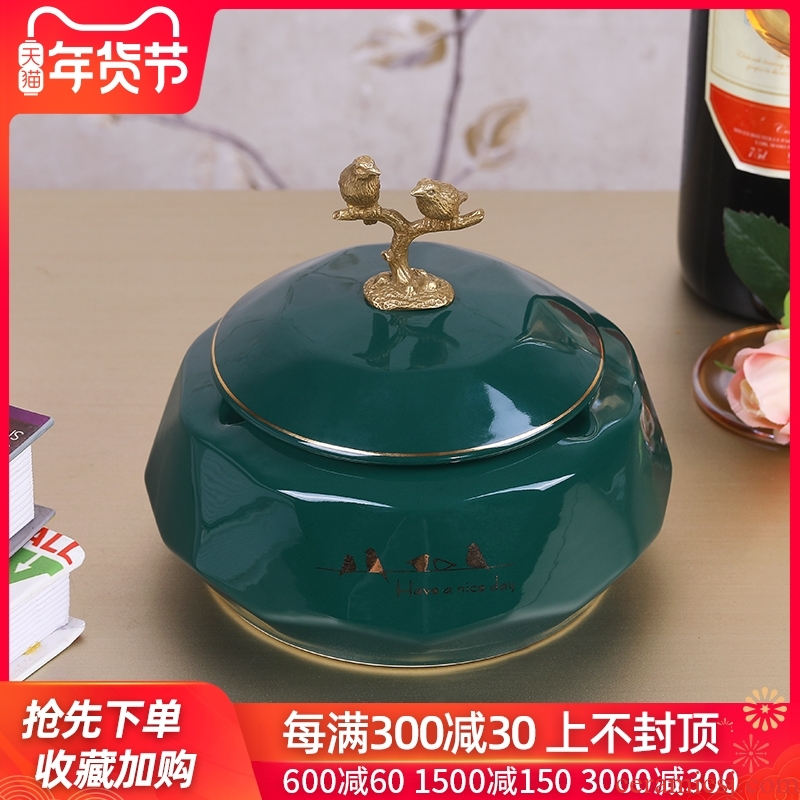 Ceramic ashtray light creative key-2 luxury European household act the role ofing is tasted household Nordic sitting room adornment ashtray ins with cover