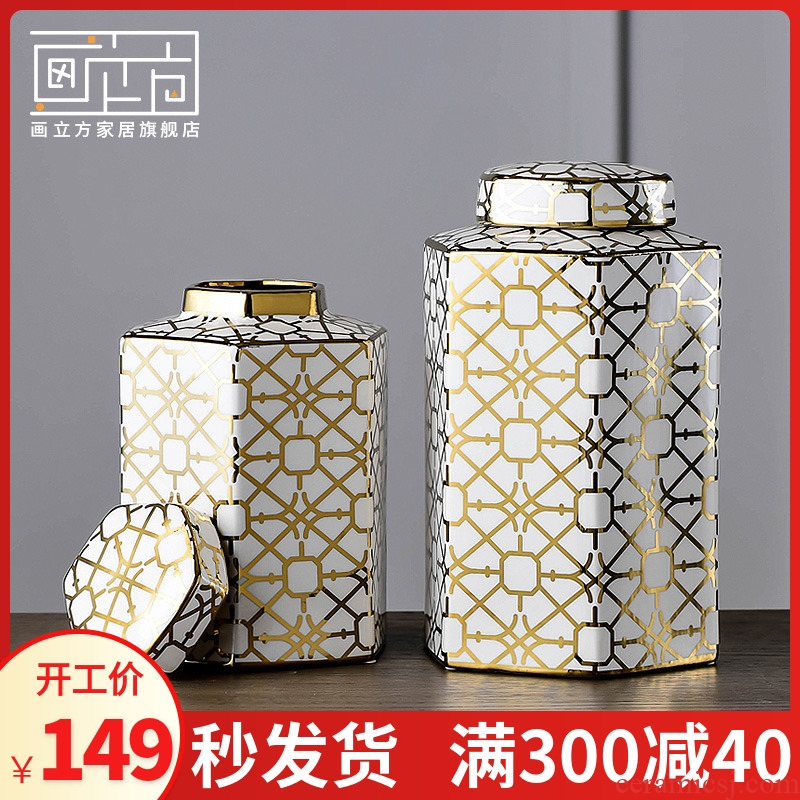 New Chinese style restoring ancient ways storage tank and practical household vase POTS of jingdezhen ceramic decoration place adorn