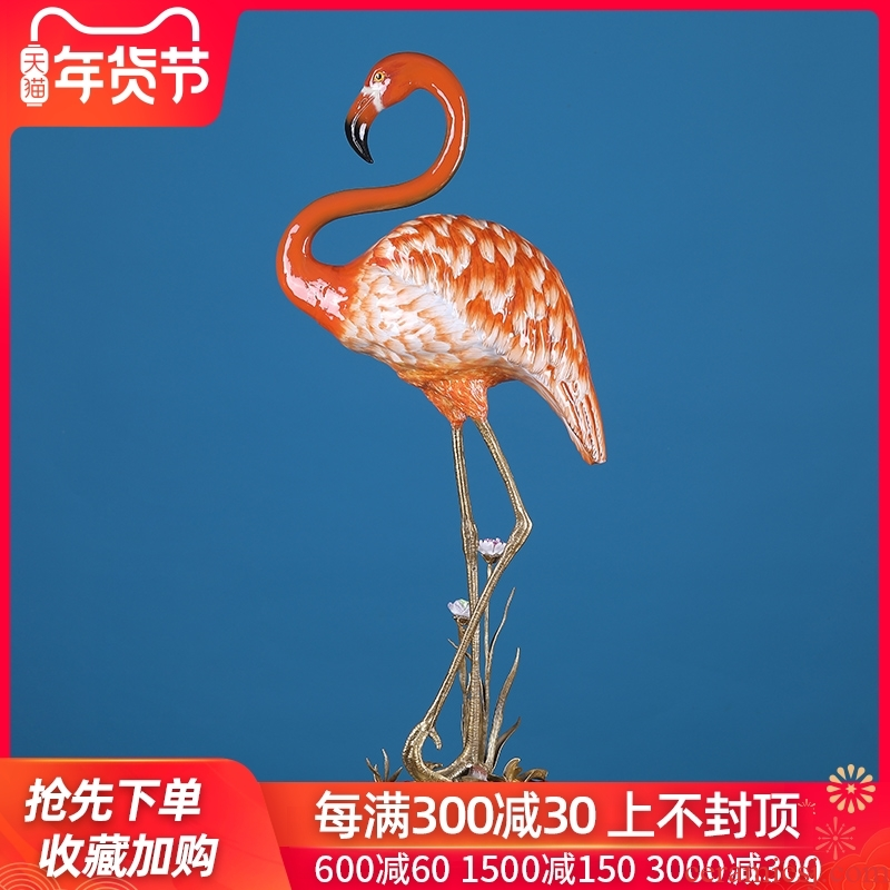 European household soft outfit ceramic flamingos creative example room porch sitting room adornment simulation animal furnishing articles