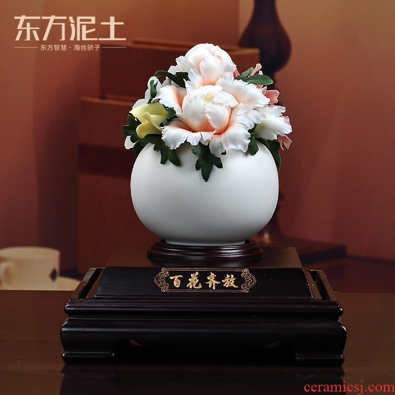 Oriental soil high - grade ceramic flower place to live in the living room TV cabinet decoration housewarming gift/flowers
