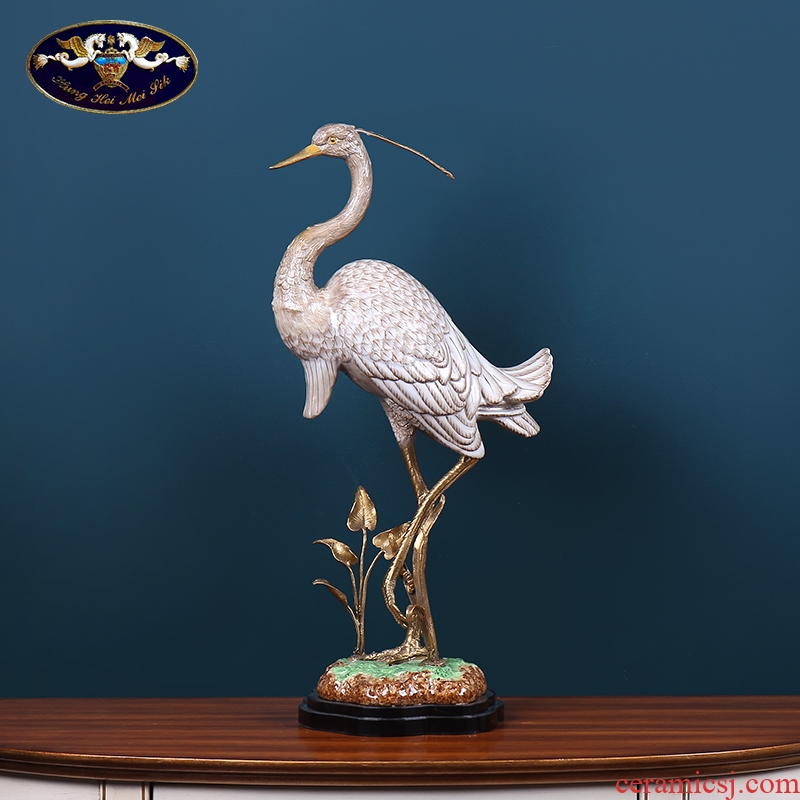 Cranes furnishing articles ceramics with copper European - style home decoration ideas sitting room porch decoration feng shui hand - made of handicraft