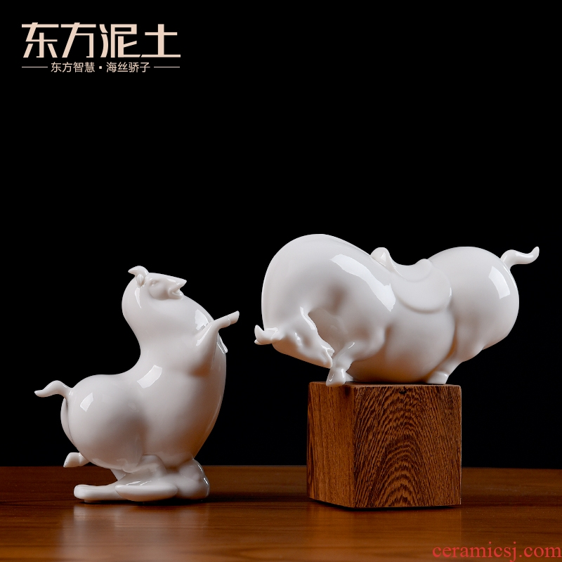 Oriental clay ceramic don horse horse furnishing articles, the sitting room is the study of new Chinese style bookshelf rich ancient frame decorate small handicraft