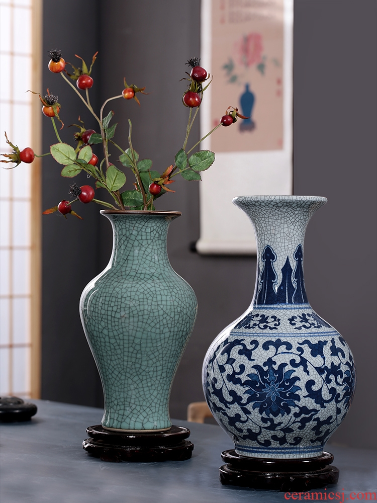 Imitation of classical jingdezhen ceramics up on vase furnishing articles sitting room flower arranging rich ancient frame of Chinese style household ornaments