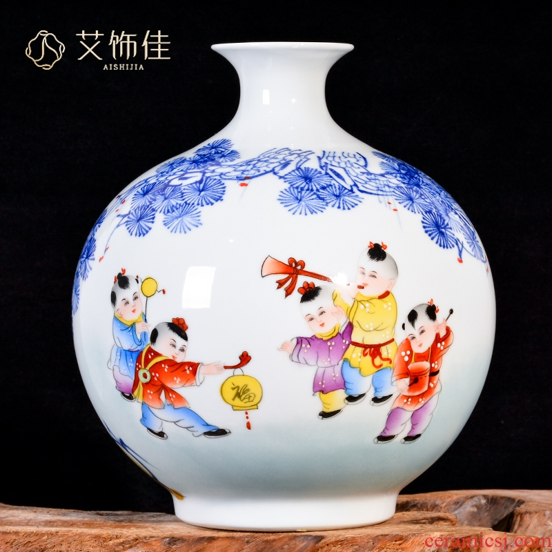 Jingdezhen ceramic hand - made lad merrily merrily vases, new Chinese style living room TV cabinet decoration handicraft furnishing articles