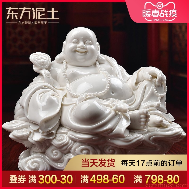 Oriental soil dehua white porcelain Buddha its art collection Chinese style home furnishing articles/xiangyun laughing Buddha to Buddha