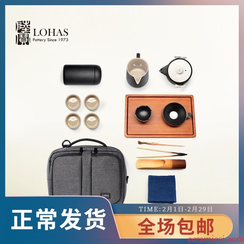 Taiwan lupao ceramic tea set the cloud brocade book business tea sets, multi - function portable tea set tea tray cloth