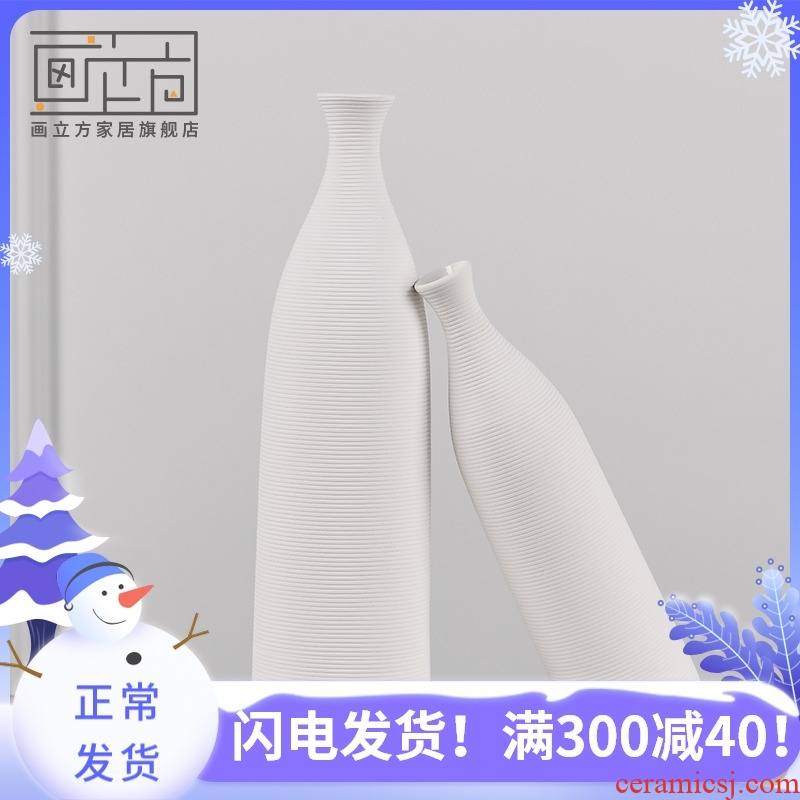 I and contracted cubic Nordic white ceramic vase household soft adornment flower arranging flowers is the living room