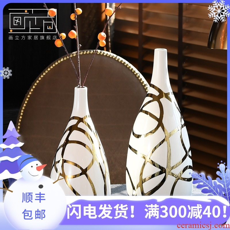 Sitting room cubic contracted and I ceramic creative flower arranging vase dry flower is placed Nordic interior decoration, flower implement