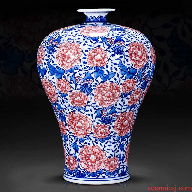 Jingdezhen ceramics archaize mei bottle of blue and white porcelain vase furnishing articles collection of new Chinese style sitting room adornment is placed arranging flowers