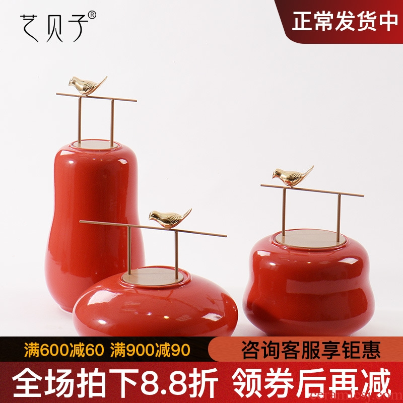 Art BeiZi contracted the new Chinese style act the role ofing is tasted furnishing articles designer plan room porch ceramic storage tank three - piece suit