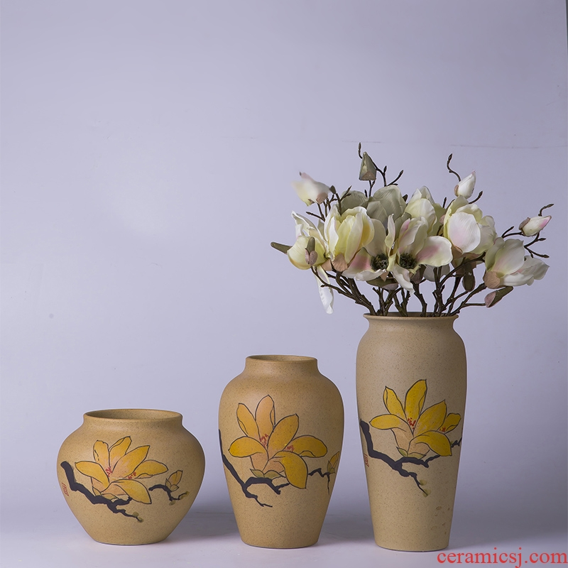 New Chinese style home sitting room adornment handicraft furnishing articles modern simplicity of three - piece ceramic vase