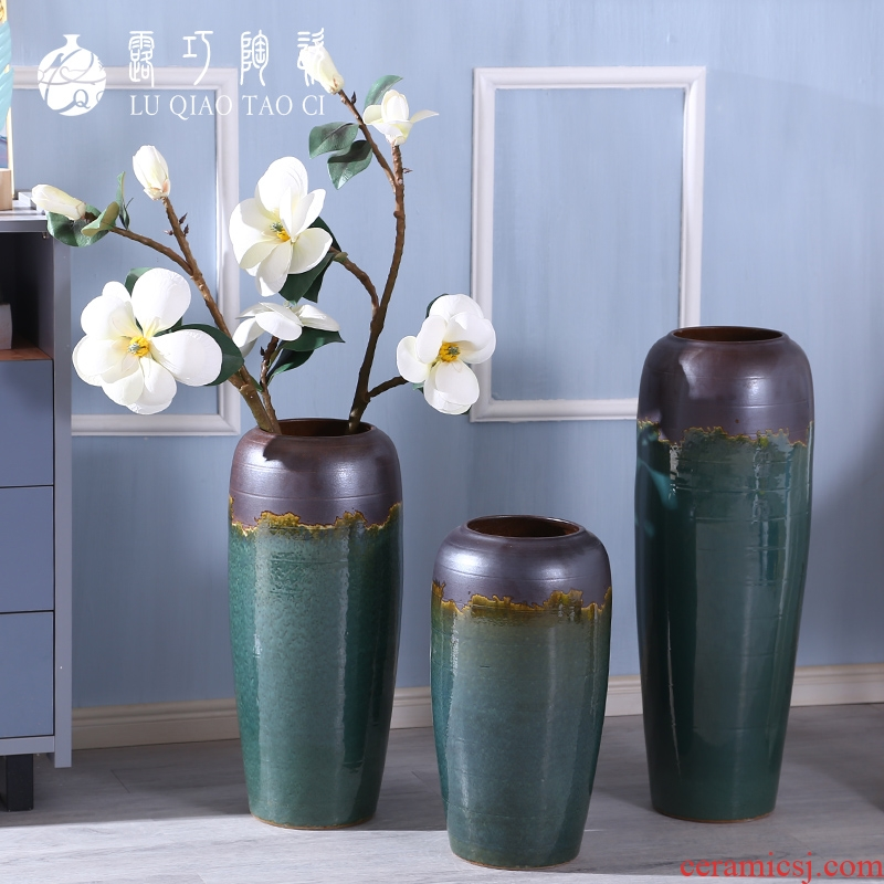 Move sitting room light key-2 luxury furnishing articles blue flower arranging false landing creative arts ceramic vase floral outraged style furnishing articles