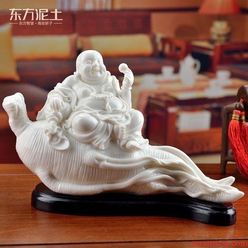 The east mud birthday gift/white marble, white marble ceramic maitreya household porcelain/happy life D01-019 - a