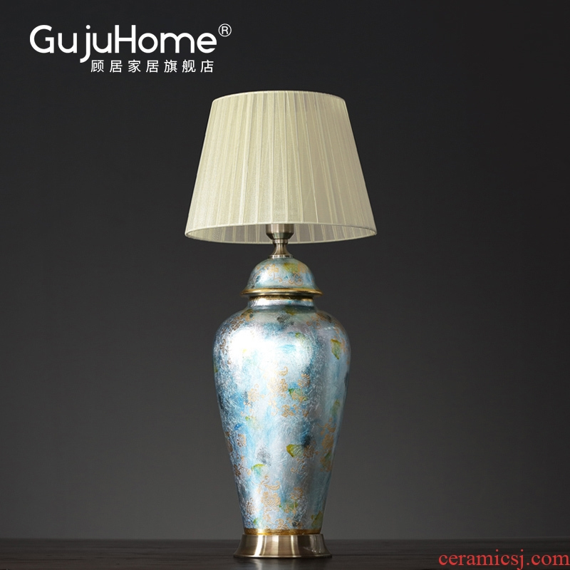 New Chinese style ceramic bedside lamp American household edge model between soft assembly act the role of what adornment creative furnishing articles