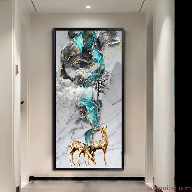 New Chinese style porch decoration vertical version of the corridor at the end of the corridor light feel crystal porcelain that take key-2 luxury feel elk mural that hang a picture