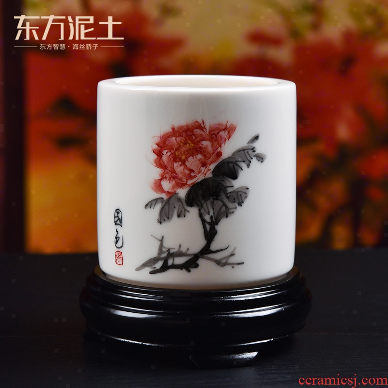 Oriental clay ceramic hand - made brush pot furnishing articles of Chinese style study office desktop accessories DIY gift
