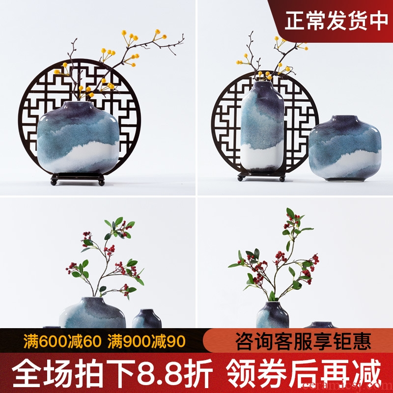 New Chinese style ceramic vase furnishing articles of modern creative flower arrangement sitting room porch zen retro TV ark, home decoration