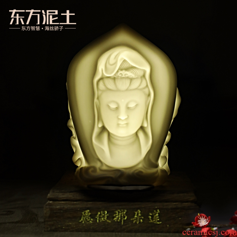 Clay ceramic zen guanyin desktop furnishing articles of Chinese style study Oriental decorative can light/willing to do that lotus