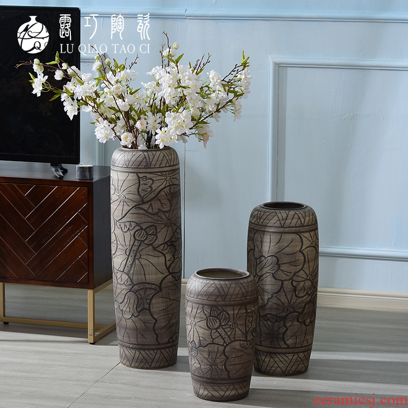 Ceramic plug-in dry flower art by hand big vase furnishing articles sitting room ground retro archaize TV ark, simulation flower decoration