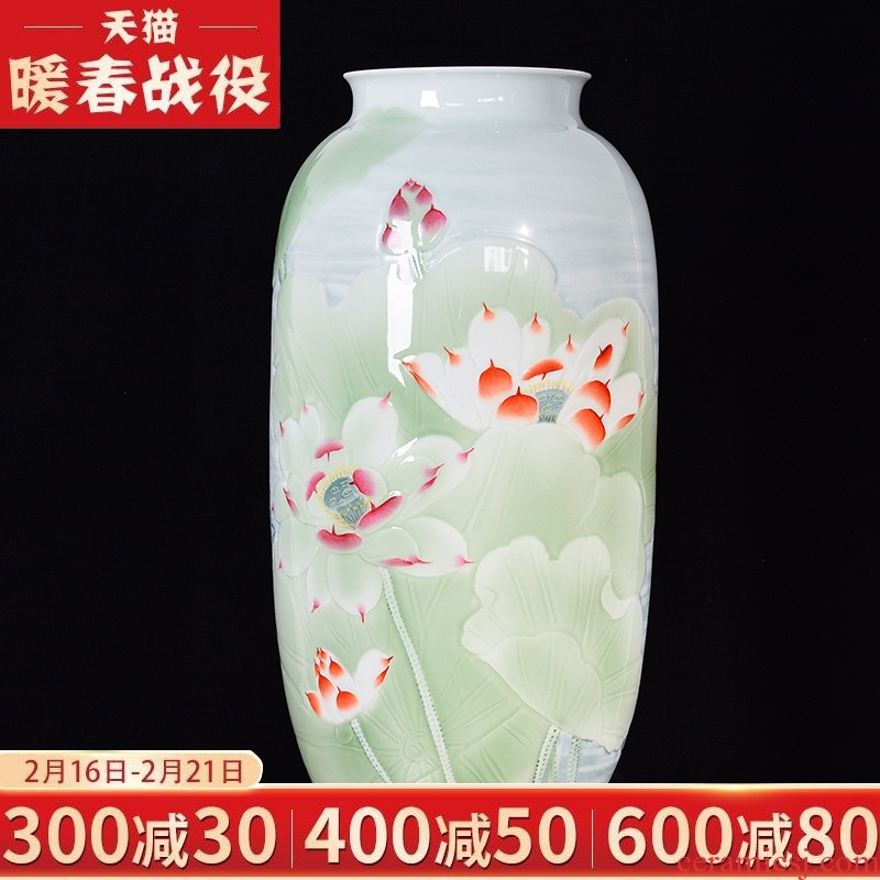 Jingdezhen ceramics large master hand relief flower arranging Chinese style living room TV cabinet porch decoration furnishing articles