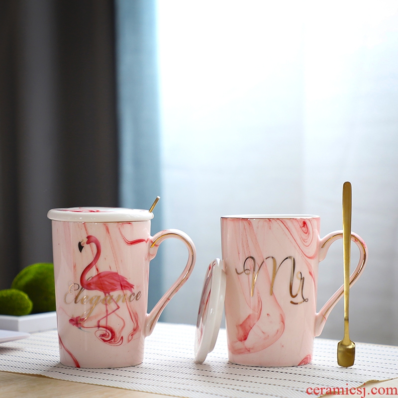 Nan sheng move flamingos Nordic ins wind ceramic coffee cup home office keller cup suit couples