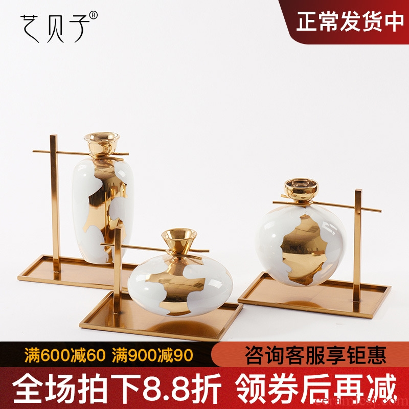 Modern new Chinese style household act the role ofing is tasted furnishing articles metal plating vases, ceramic flower implement soft adornment example room decoration