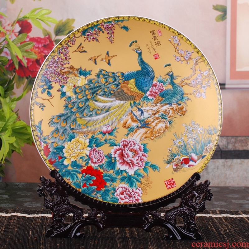 Jingdezhen ceramic decoration plate of 40 cm hang dish household porcelain arts and crafts porcelain child creative furnishing articles furnishing articles
