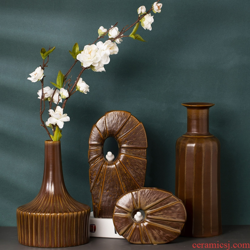 Jingdezhen ceramic art porcelain vase restoring ancient ways is the sitting room office desk desk flower implement of new Chinese style furnishing articles