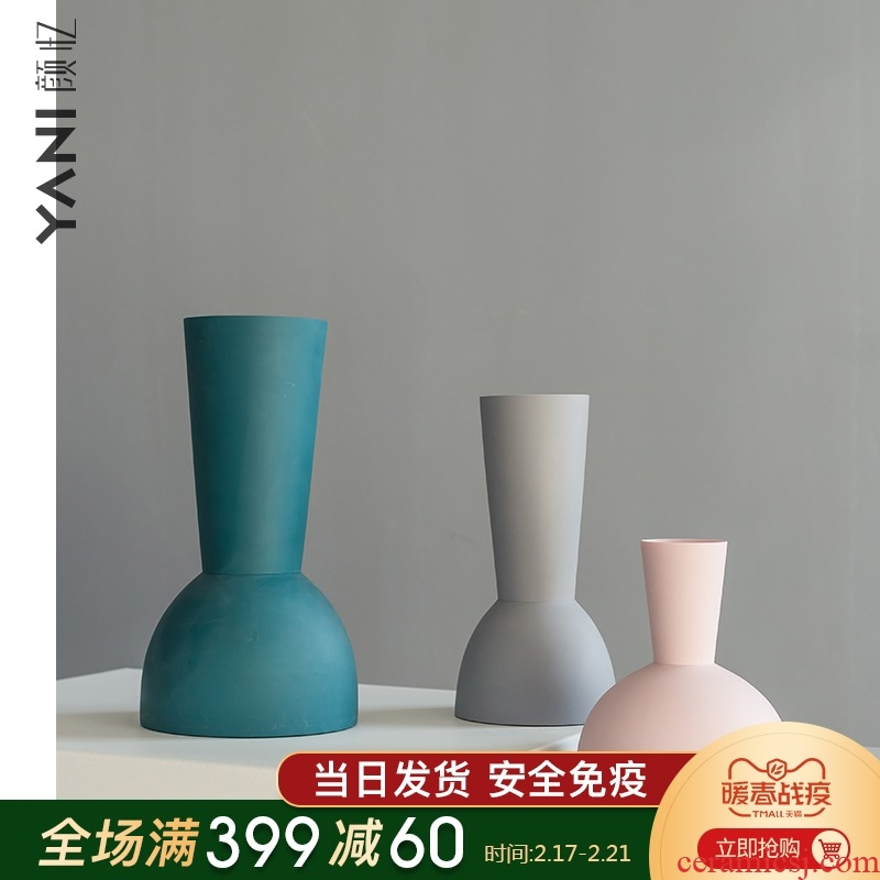 YANI yan yi northern wind vase sitting room dry flower decoration home decoration ceramic creative geometric flower arranging flowers