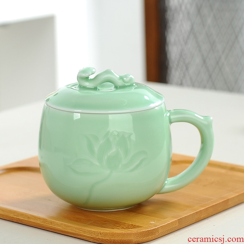 Tang Yan lane mark cup cup ceramic tea cup celadon office cup with cover cup ultimately responds a cup of gift boxes