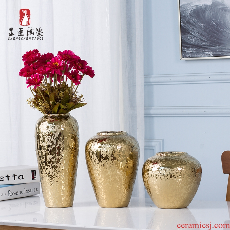 Jingdezhen ceramic European golden vase furnishing articles sitting room flower arranging creative porcelain decoration Nordic marriage office