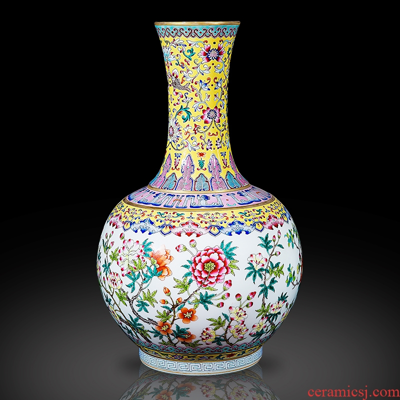 Jingdezhen ceramics archaize the qing qianlong enamel see colour yellow floral bottles of sitting room home decor collection furnishing articles