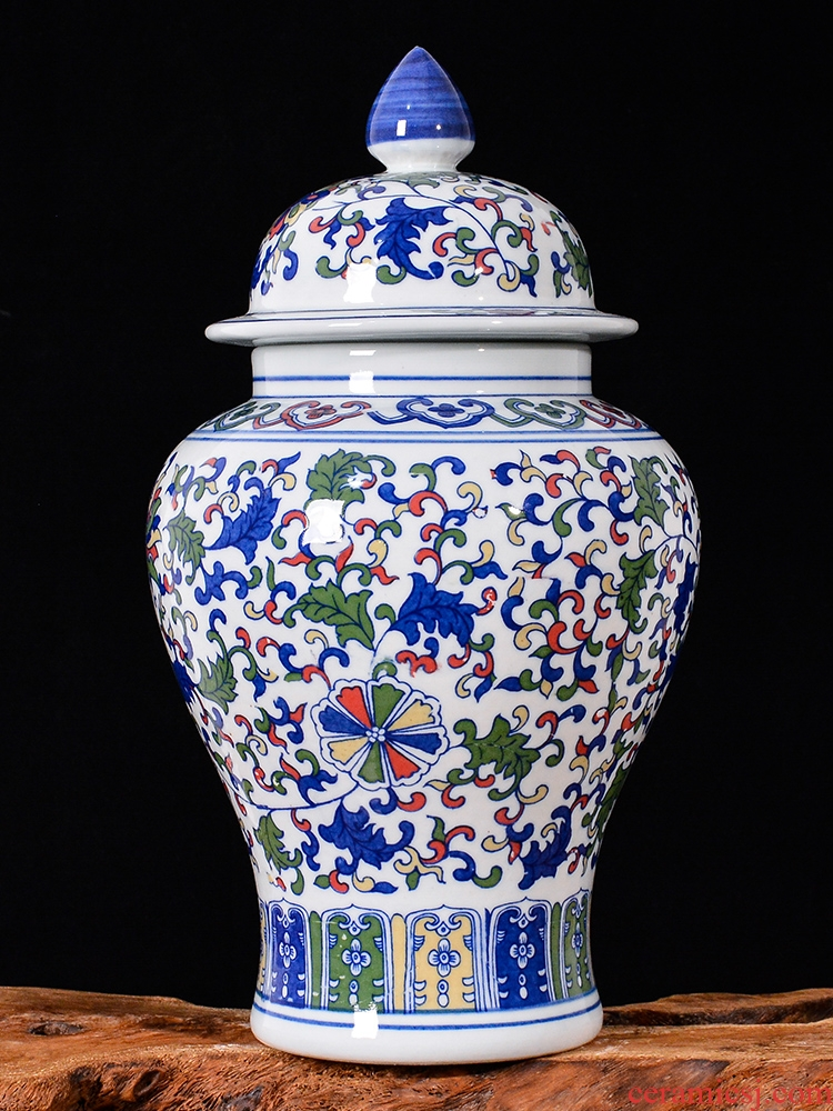 Jingdezhen ceramics general Chinese antique porcelain jar with cover caddy fixings storage tank home furnishing articles