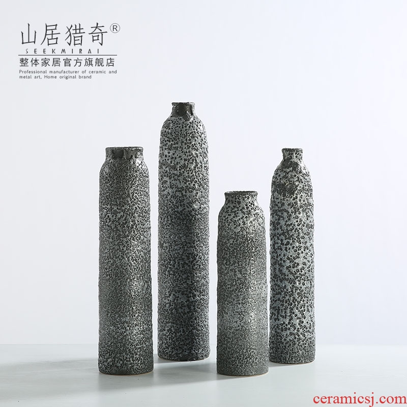 Chinese style restoring ancient ways ceramic vase variable gray flower arrangement designer example room living room table soft outfit furnishing articles