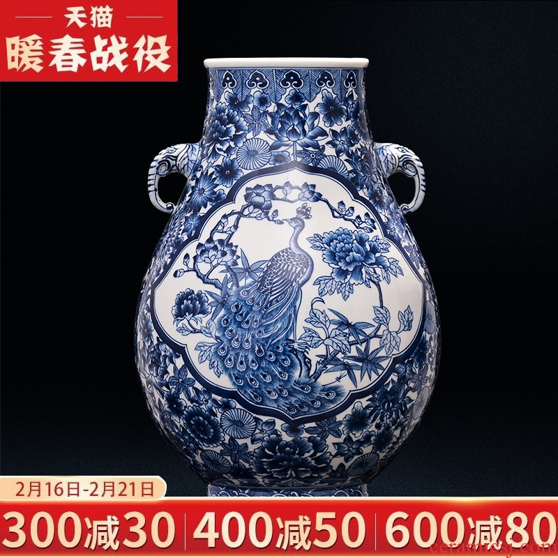 Blue and white porcelain of jingdezhen ceramics ears hand - made vases, sitting room, a collection of Chinese style household decorations classical furnishing articles