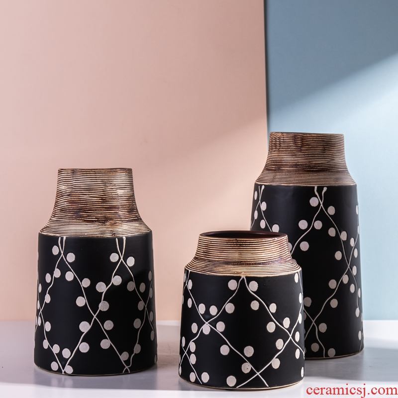 Contracted ceramic vase now place to live in the living room TV cabinet table flower adornment ornament the dried flowers
