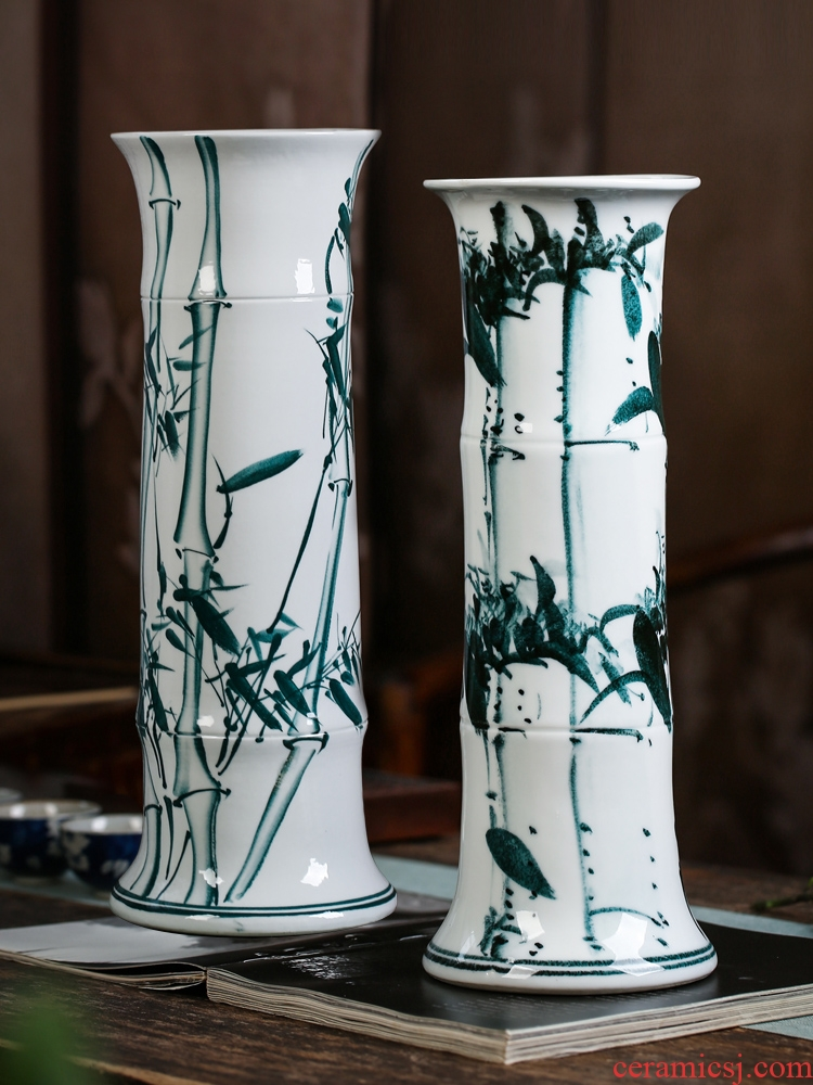 Jingdezhen ceramics tube lucky bamboo vases, flower arranging is placed a sitting room be born king straight water culture flower arrangement