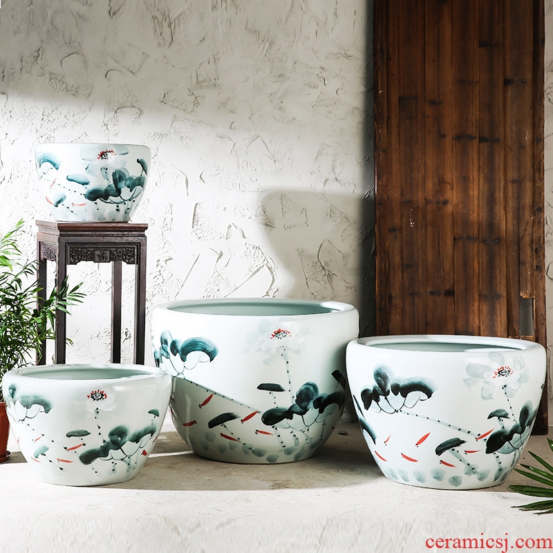 Jingdezhen ceramic aquarium tank large ceramic creative hand - made lotus goldfish turtle cylinder Chinese style household furnishing articles