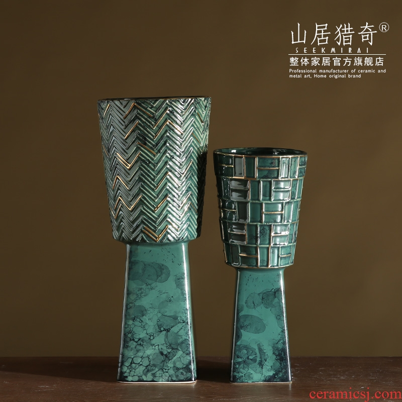 The New table decoration art flower arranging flowers is Chinese style restoring ancient ways vase creative ceramics high convergent ding