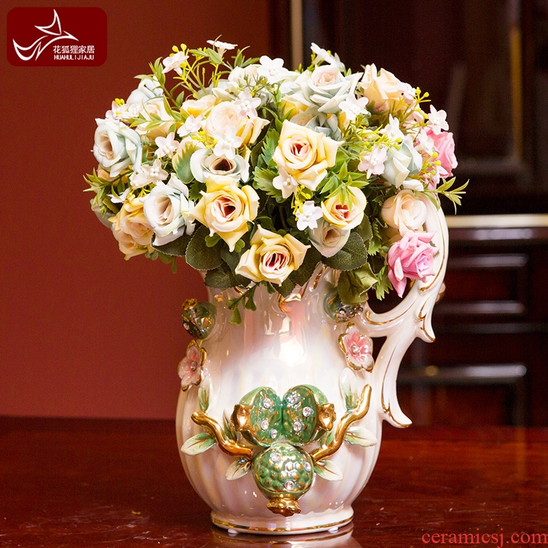 European ceramic monaural milk pot simulation flower vase creative floral furnishing articles sitting room tea table wine cabinet TV ark, adornment