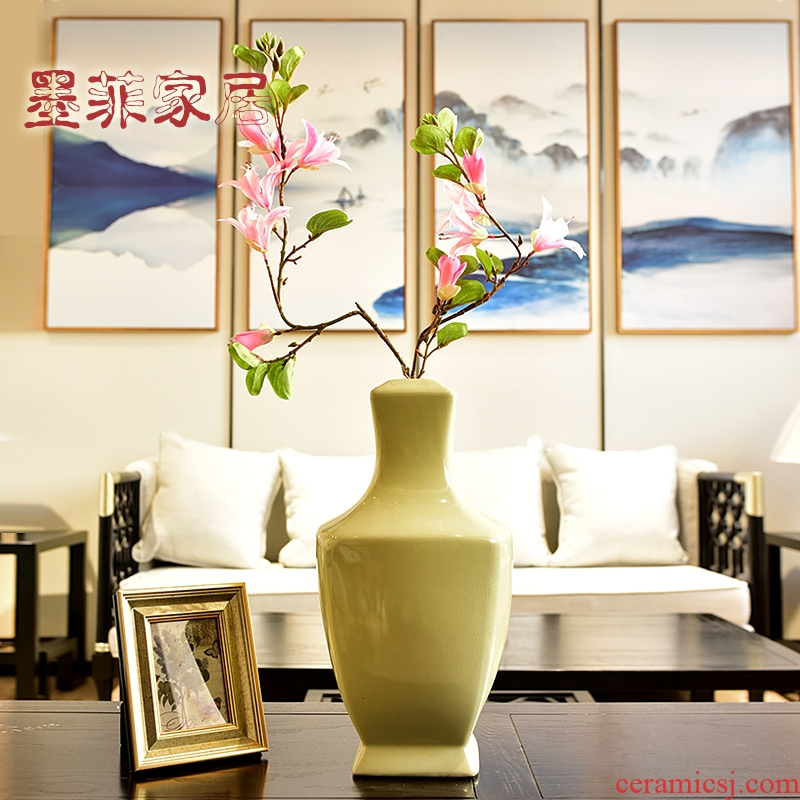The modern single glazed ceramic furnishing articles new Chinese vase sitting room of TV ark, wine porch place ornament