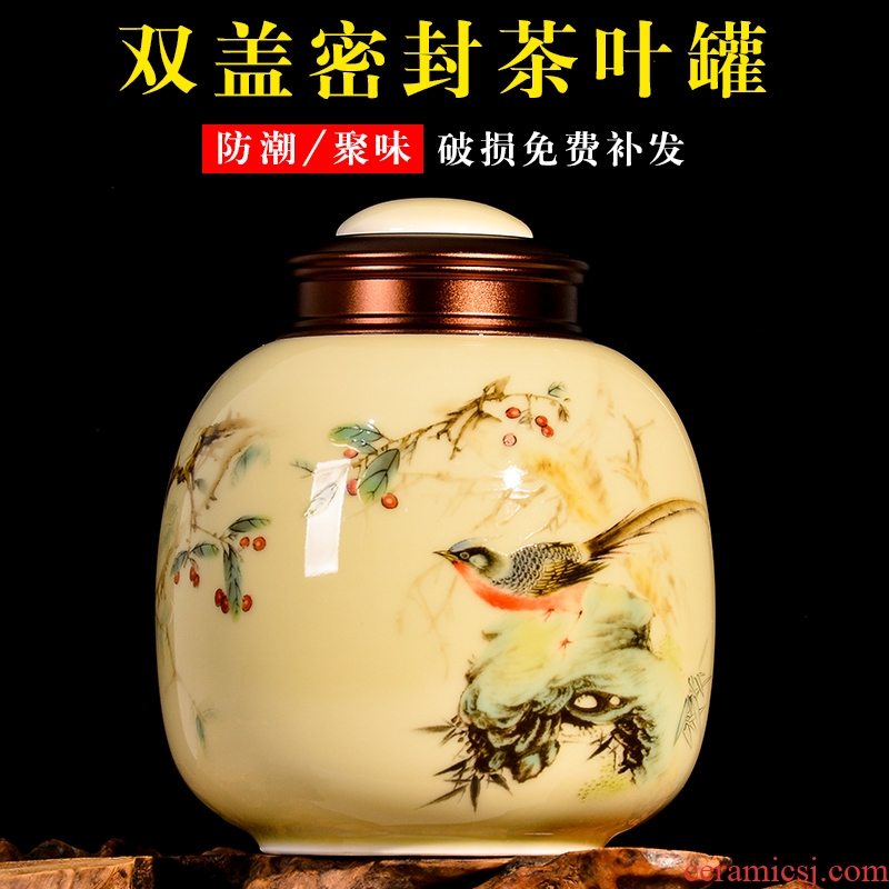 Chinese jingdezhen ceramics caddy fixings storage tank practical moisture storage POTS for household use handicraft and POTS