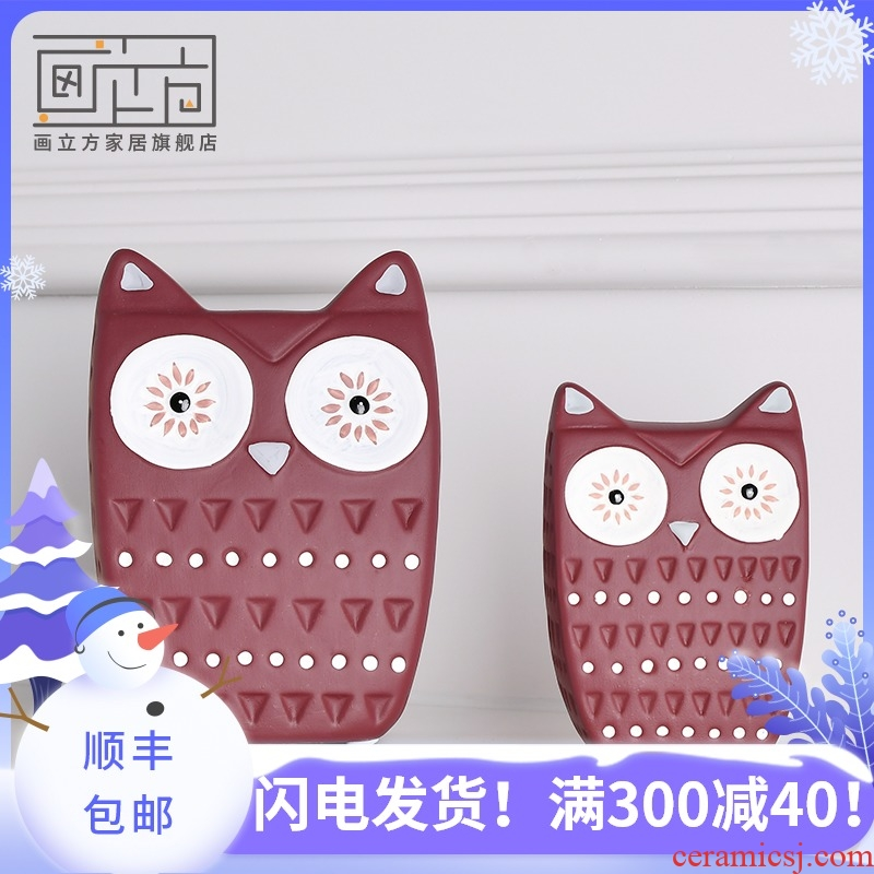 Painting cubic Nordic I and contracted model of new home sitting room decoration study owl ceramic furnishing articles