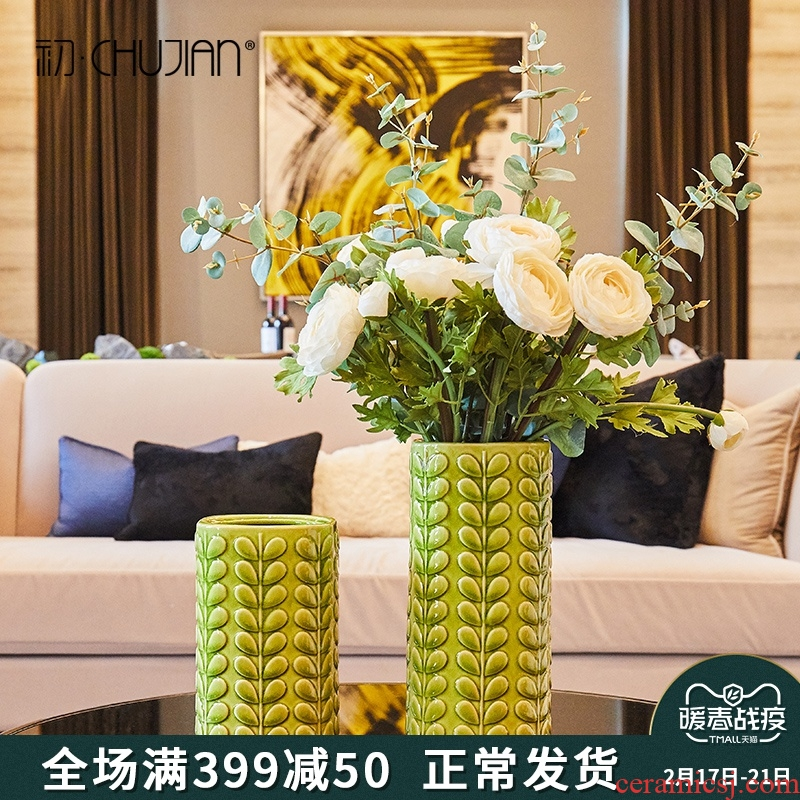 American pastoral leaf vase creative ceramic furnishing articles sitting room tea table soft adornment flower decoration decoration TV ark