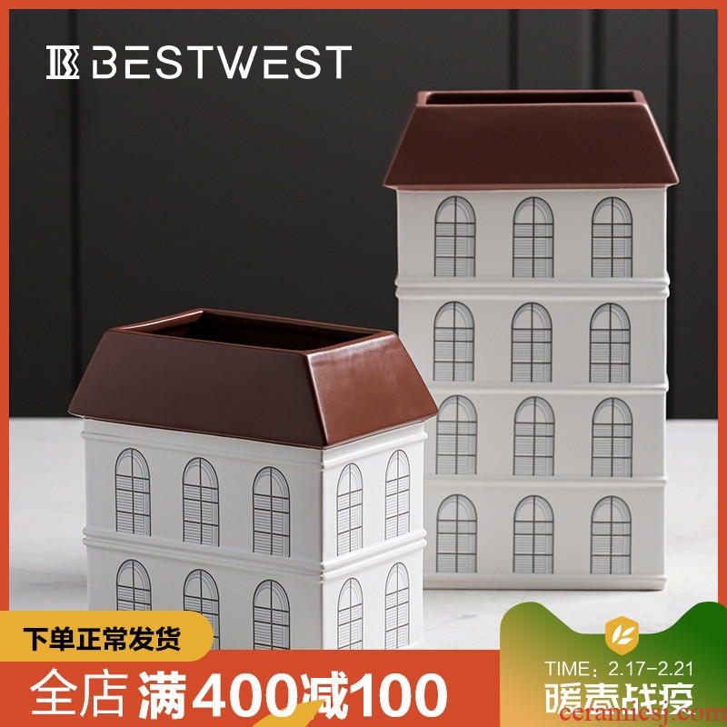 BEST WEST creative house light key-2 luxury ceramic vase flower arranging home sitting room adornment is placed between the example