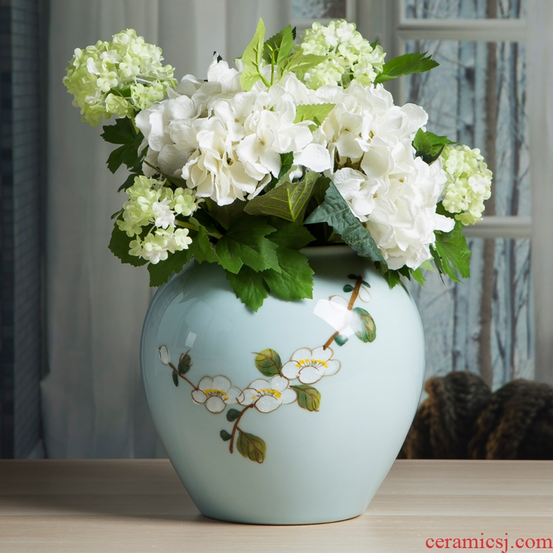 Jingdezhen Chinese dried flower vases, ceramic furnishing articles flower arranging I and contracted sitting room creative porcelain home decoration